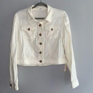 June & Hudson Linen Cropped Trucker Style Jacket